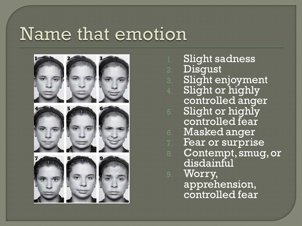 1. Slight sadness 2. Disgust 3. Slight enjoyment 4. Slight or highly controlled anger 5. Slight or highly controlled fear 6. Masked anger 7. Fear or s