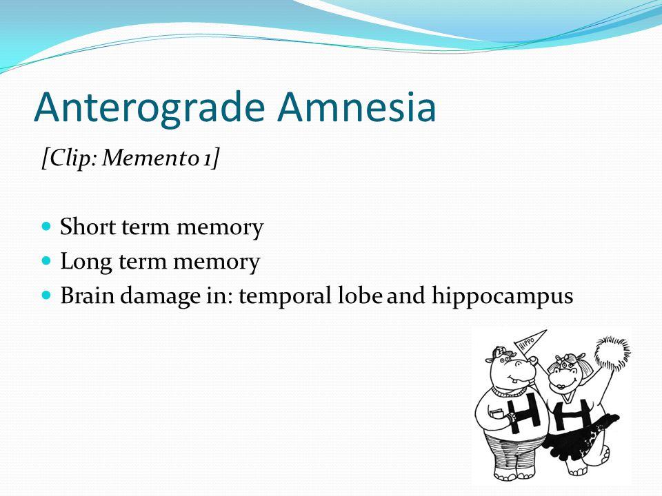 Anterograde Amnesia [Clip: Memento 1] Short term memory Long term memory Brain damage in: temporal lobe and hippocampus