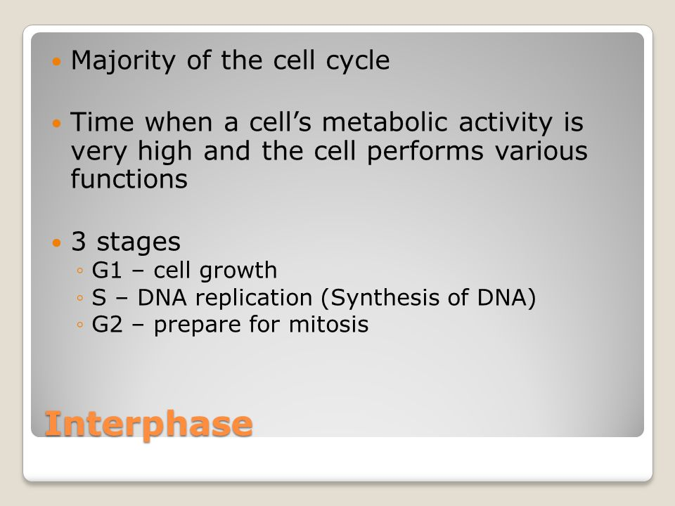 M Phase (mitotic phase) About 10% of the cell cycle 2 stages ◦Mitosis – nuclear division ◦Cytokinesis – cytoplasm division Results in two genetically identical cells
