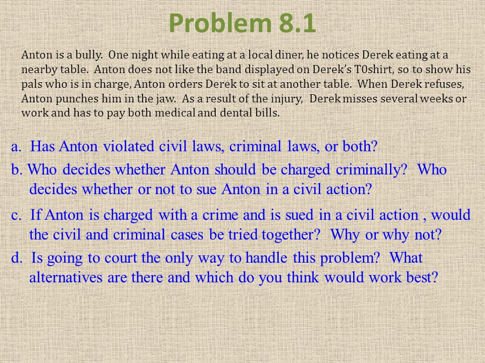 Problem 8.1 a. Has Anton violated civil laws, criminal laws, or both? b. Who decides whether Anton should be charged criminally? Who decides whether o