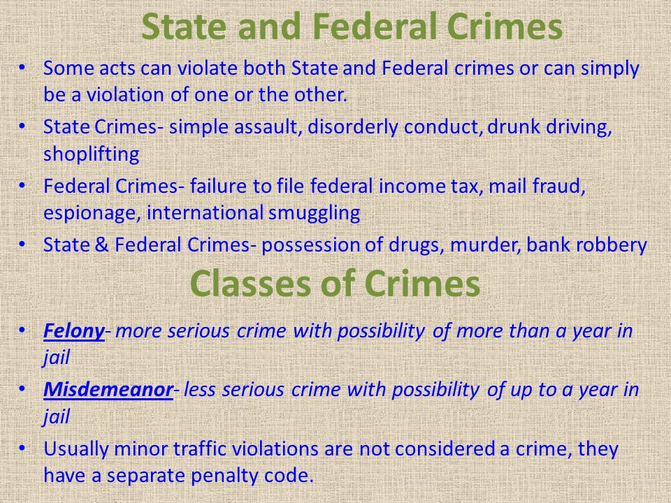 Parties to Crimes Principal- person that actually commits the act Accomplice- person or people that help carry out the act, they can be charged as a principal - example- get away driver or others present at the time of the act Accessory before the fact- person or persons that help plan the act but do not participate, or are not present when the act is carried out, they can be charged as a principal Accessory after the fact- person or persons who have no knowledge of the act until after it is done, but help in some way those who committed the act- example- hide a person in their house, cannot be charged as a principal
