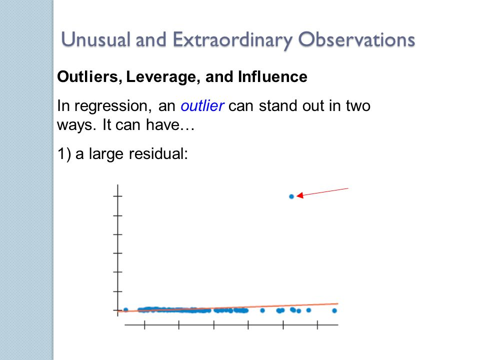Outliers, Leverage, and Influence In regression, an outlier can stand out in two ways.