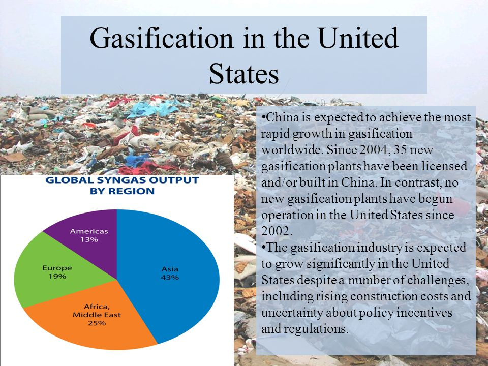 Gasification in the United States China is expected to achieve the most rapid growth in gasification worldwide. Since 2004, 35 new gasification plants