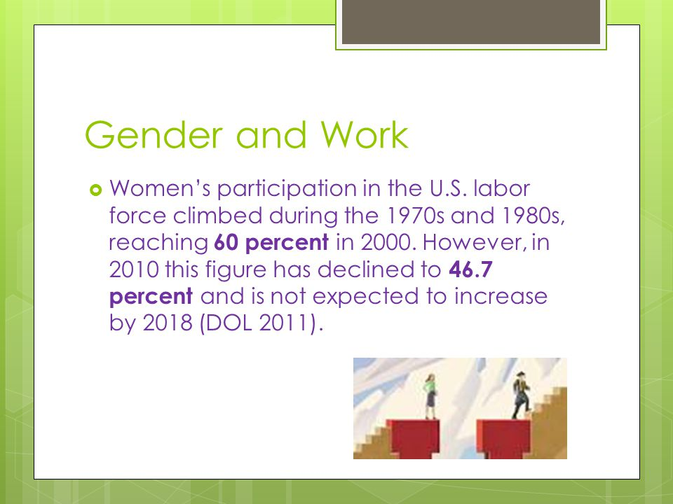 Gender and Work  Women's participation in the U.S.