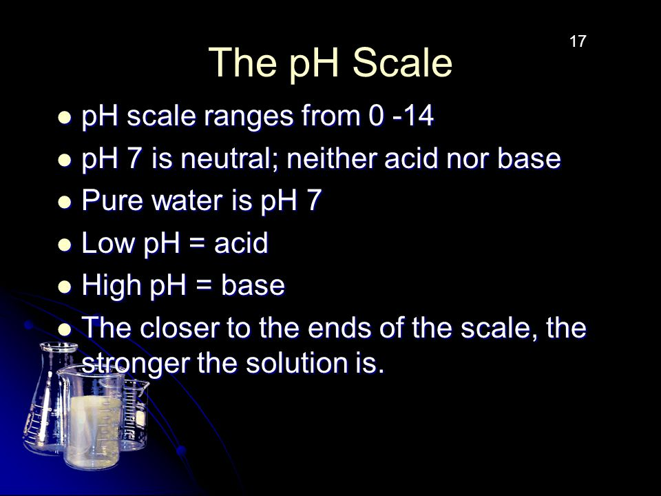 The pH Scale pH scale ranges from 0 -14 pH scale ranges from 0 -14 pH 7 is neutral; neither acid nor base pH 7 is neutral; neither acid nor base Pure water is pH 7 Pure water is pH 7 Low pH = acid Low pH = acid High pH = base High pH = base The closer to the ends of the scale, the stronger the solution is.