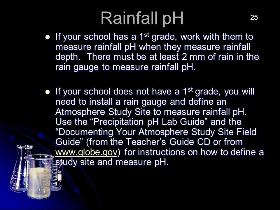 Rainfall pH If your school has a 1 st grade, work with them to measure rainfall pH when they measure rainfall depth.