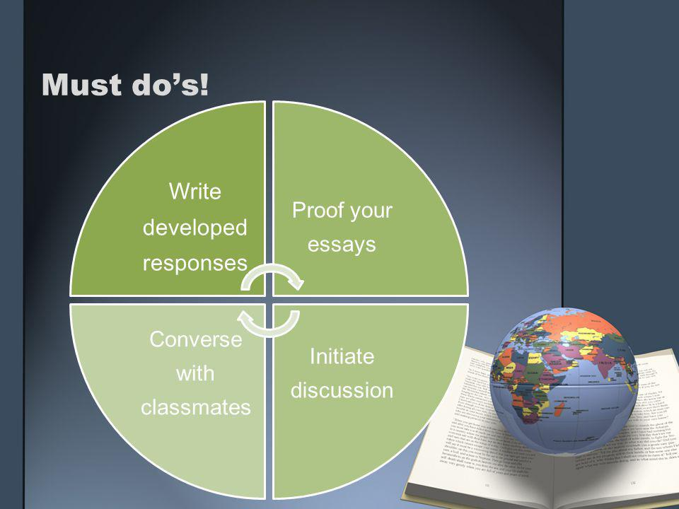 Must do's! Write developed responses Proof your essays Initiate discussion Converse with classmates