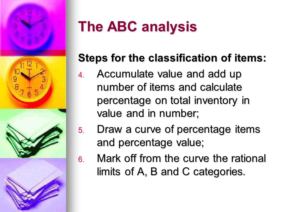 The ABC analysis Steps for the classification of items: 4.