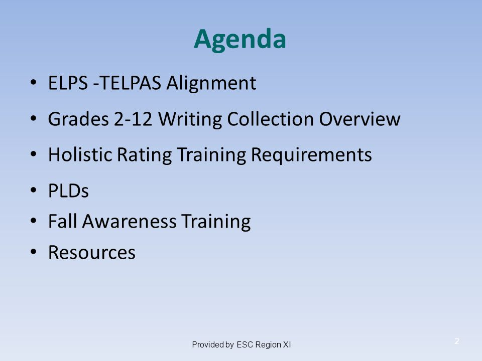 Overview of the Rating Process Districts identify ELLs in grades K–12 and designate raters to assess students Test administration procedures and holistic rating training conducted to prepare grades K–12 raters to assess English language proficiency consistent with the holistic scoring rubrics, the Proficiency Level Descriptors (PLDs) Raters gather writing samples for ELLs in grades 2–12 to include in each student's writing collection Raters use PLDs to assign students a rating in each language domain assessed 64Provided by ESC Region XI