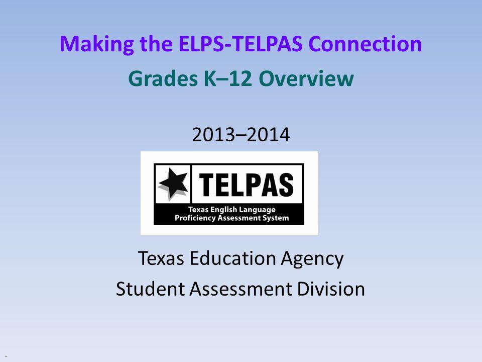 TELPAS Administration  Assessment window for spring:  March 17–April 9  Data verification window:  April 10–11 TEA Fall ELL Assessment Update95
