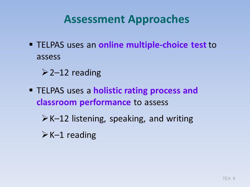 TELPAS Calibration – Spring 2012 and 2013 TEA Fall ELL Assessment Update 100 Grades K–1 Grade 2Grades 3–5 Grades 6–8 Grades 9– 12 2012 Total Successful Calibrations 29205 100% 15464 100% 36054 100% 17160 99% 14988 98% 2013 Total Successful Calibrations 29689 100% 15336 100% 36415 99% 17460 99% 15454 98% 2012 Successful after Set 1 26599 91% 13863 90% 30142 83% 13233 77% 9964 65% 2013 Successful after Set 1 25901 87% 11466 75% 23432 64% 13659 77% 12154 77%
