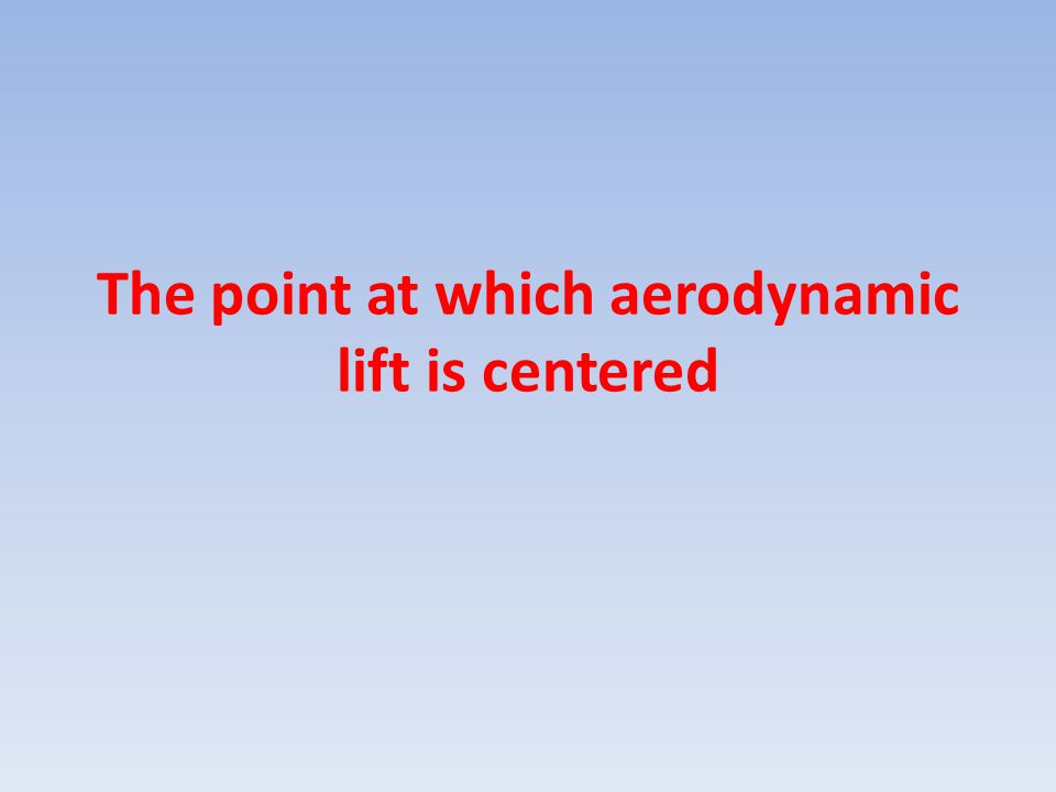 The point at which aerodynamic lift is centered