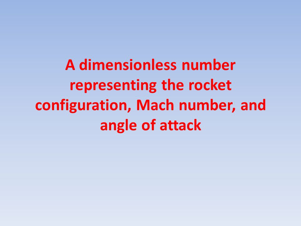 A dimensionless number representing the rocket configuration, Mach number, and angle of attack