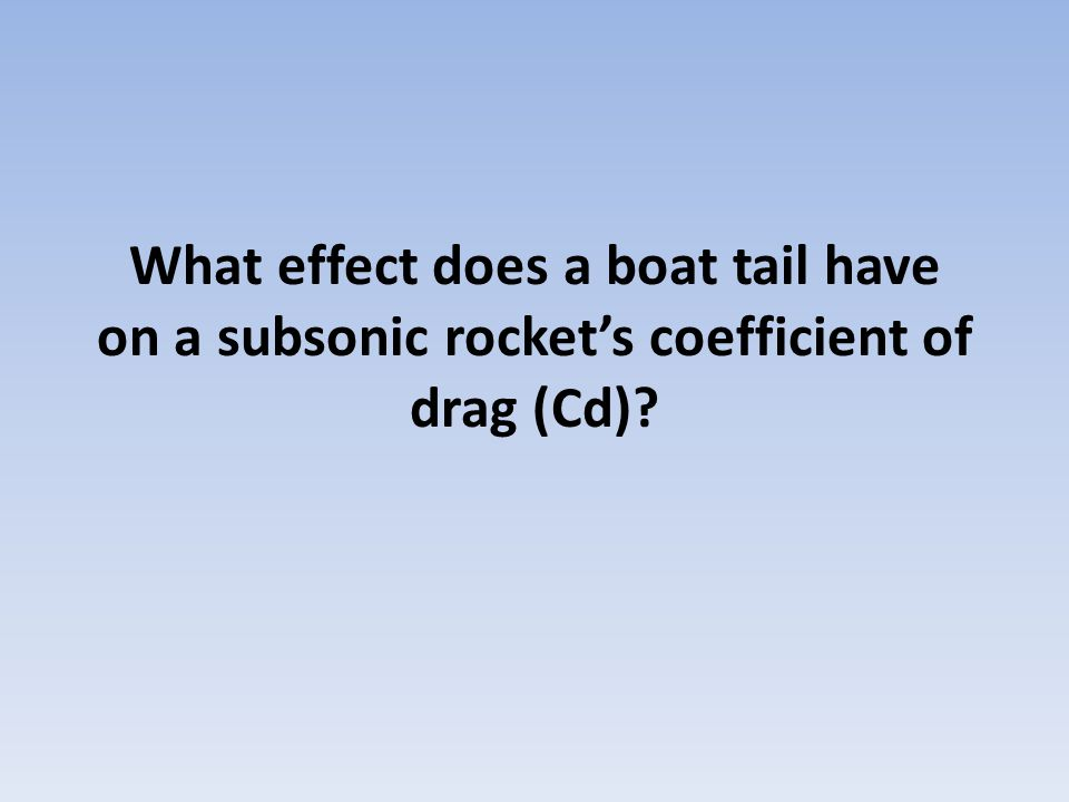 What effect does a boat tail have on a subsonic rocket's coefficient of drag (Cd)?