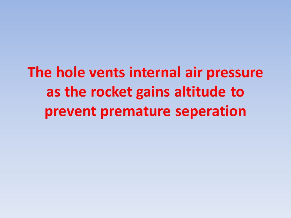The hole vents internal air pressure as the rocket gains altitude to prevent premature seperation