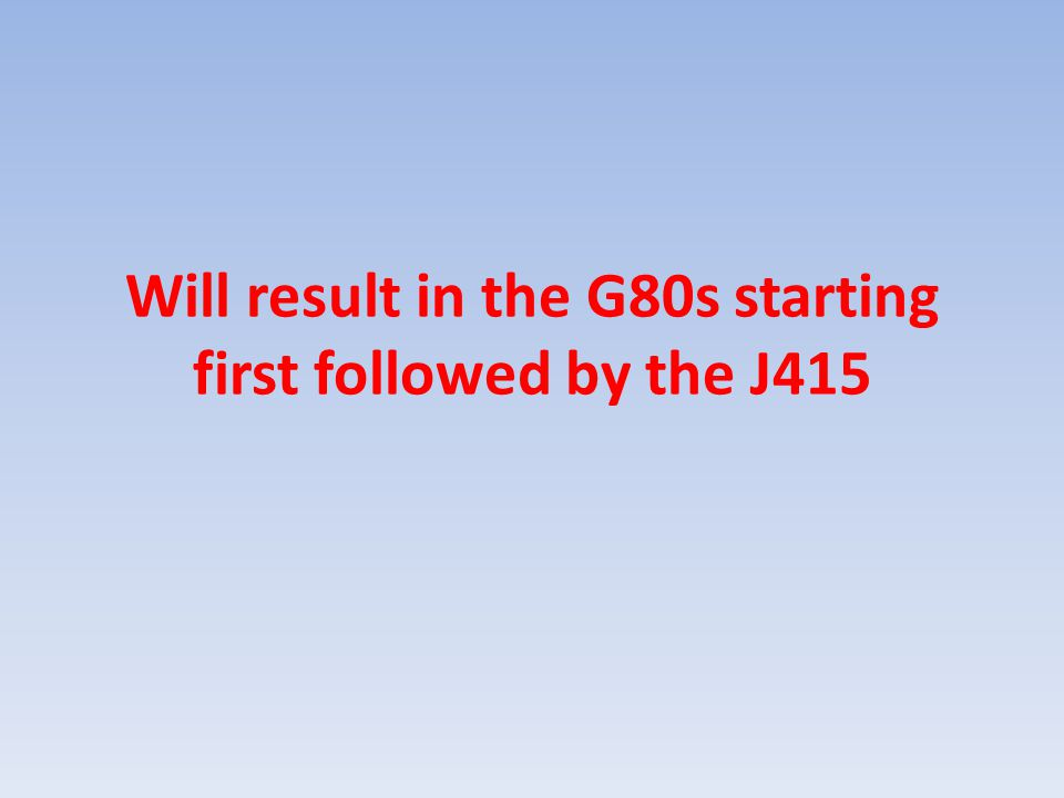 Will result in the G80s starting first followed by the J415