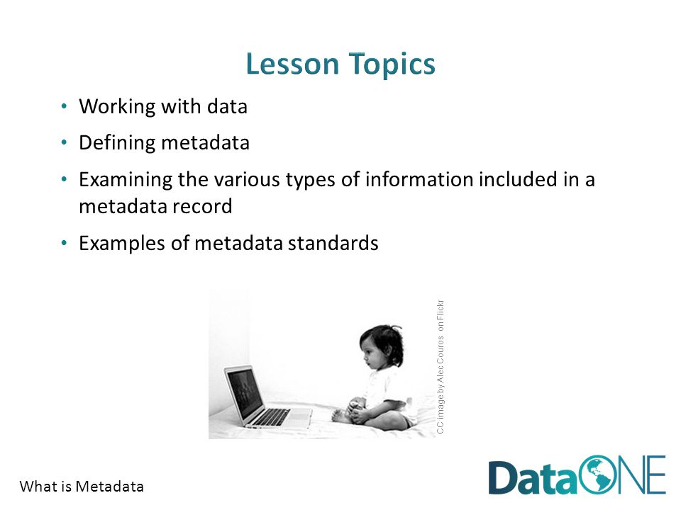 What is Metadata Working with data Defining metadata Examining the various types of information included in a metadata record Examples of metadata standards CC image by Alec Couros on Flickr