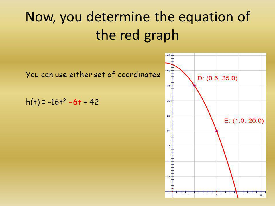 Now, you determine the equation of the red graph You can use either set of coordinates h(t) = -16t 2 -6t + 42