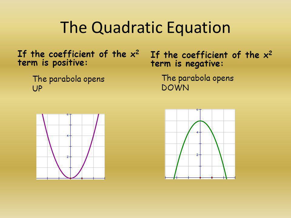 The Quadratic Equation If the coefficient of the x 2 term is positive: If the coefficient of the x 2 term is negative: The parabola opens DOWN The par