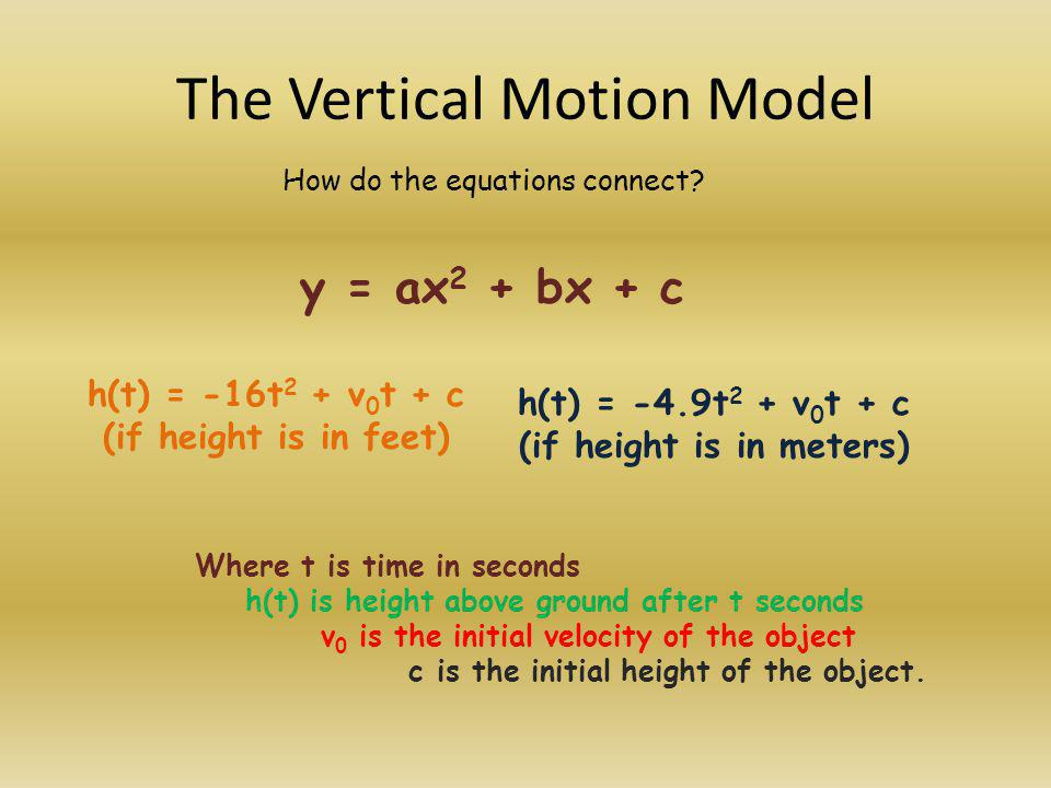 Where do we get -16t 2 and -4.9t 2 Gravity pulls objects toward the center of the earth ( down to us) at an acceleration of 32 feet per sec 2 (English measure) or 9.8 meters per sec 2 (metric measure).
