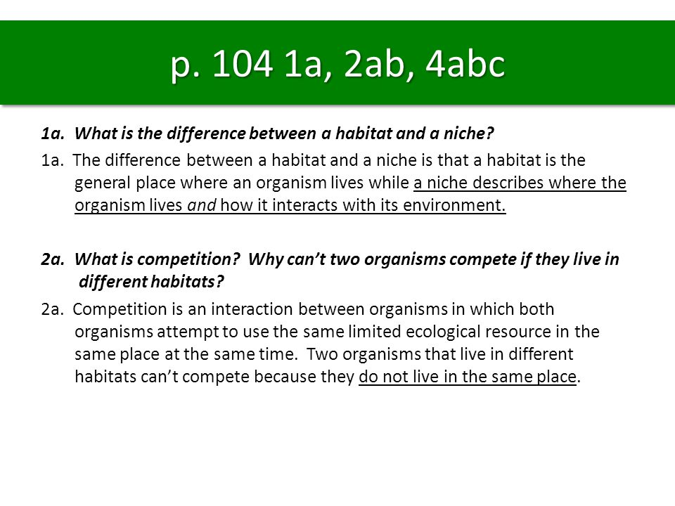 1a.What is the difference between a habitat and a niche.