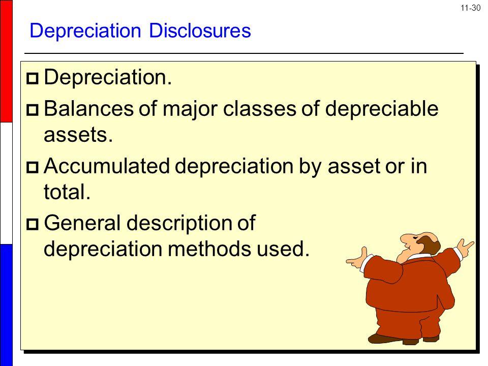 11-30 Depreciation Disclosures  Depreciation.  Balances of major classes of depreciable assets.  Accumulated depreciation by asset or in total.  G