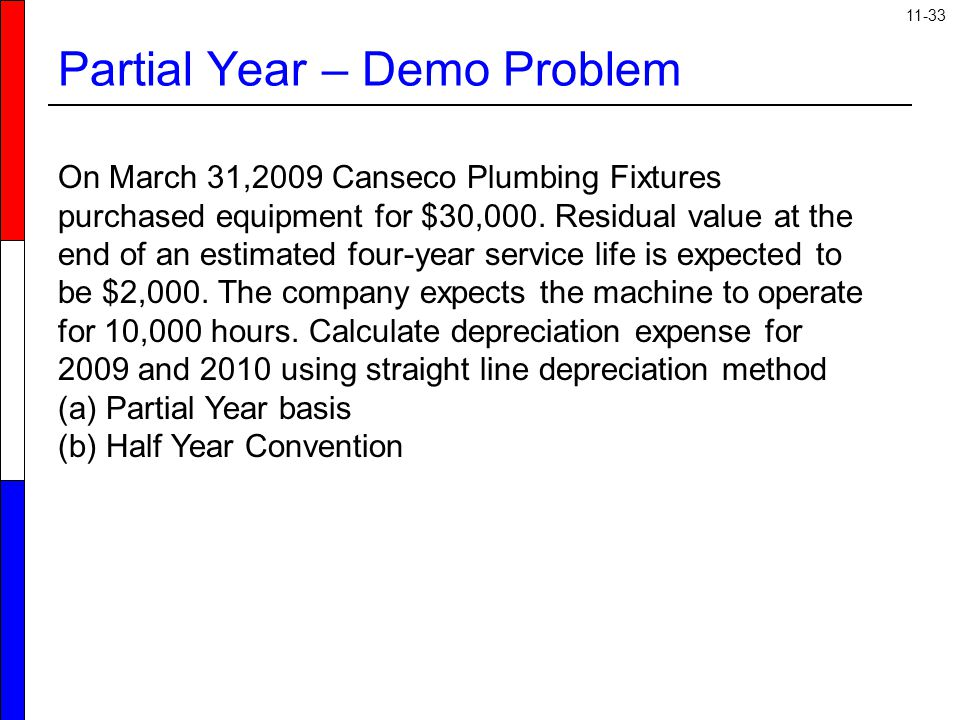 11-33 Partial Year – Demo Problem On March 31,2009 Canseco Plumbing Fixtures purchased equipment for $30,000. Residual value at the end of an estimate