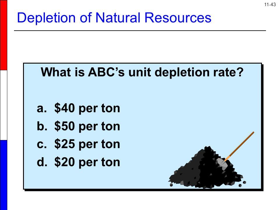 11-43 What is ABC's unit depletion rate? a.$40 per ton b.$50 per ton c.$25 per ton d.$20 per ton What is ABC's unit depletion rate? a.$40 per ton b.$5