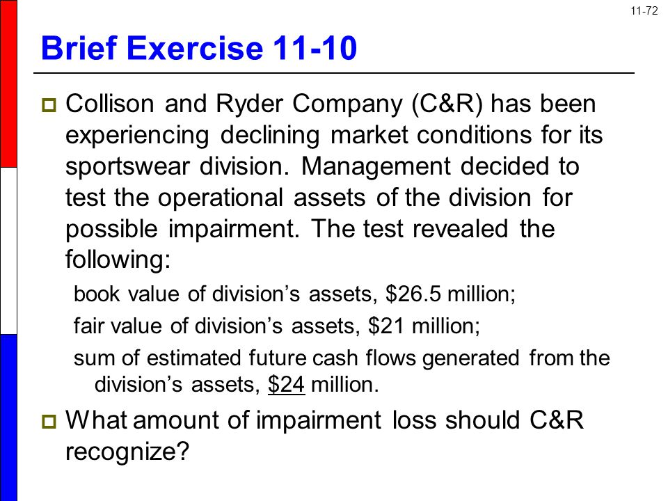 11-72 Brief Exercise 11-10  Collison and Ryder Company (C&R) has been experiencing declining market conditions for its sportswear division. Managemen