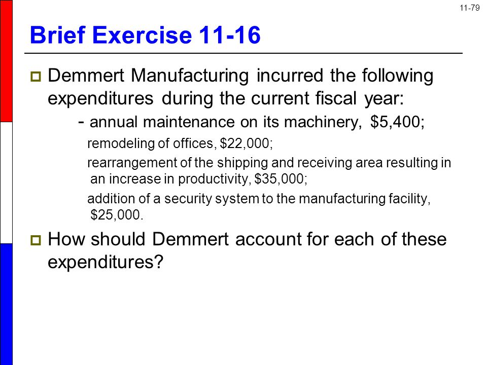 11-79 Brief Exercise 11-16  Demmert Manufacturing incurred the following expenditures during the current fiscal year: - annual maintenance on its mac