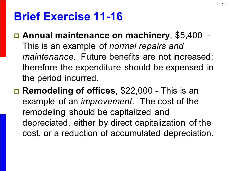 11-80 Brief Exercise 11-16  Annual maintenance on machinery, $5,400 - This is an example of normal repairs and maintenance. Future benefits are not i
