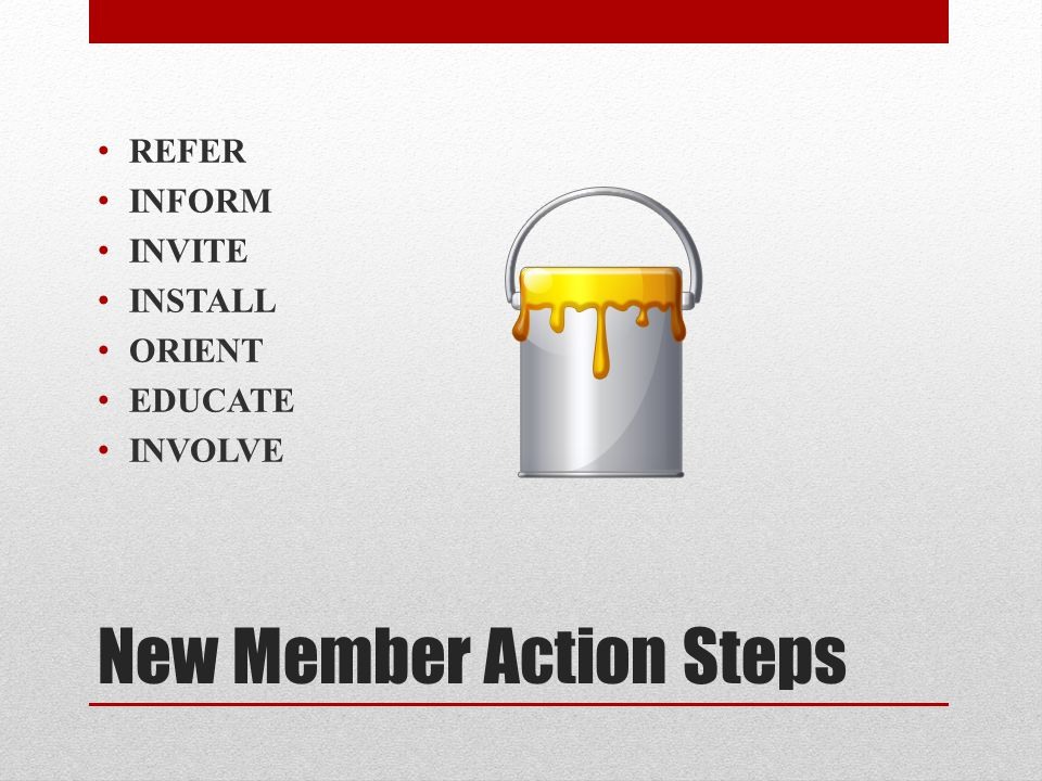 Involve and Understand For new members, develop a buddy system, pairing up a new member with an existing member who is active, involved and enthusiastic (net necessarily the person who recruited them initially.) Have A Strong Mentoring Program.