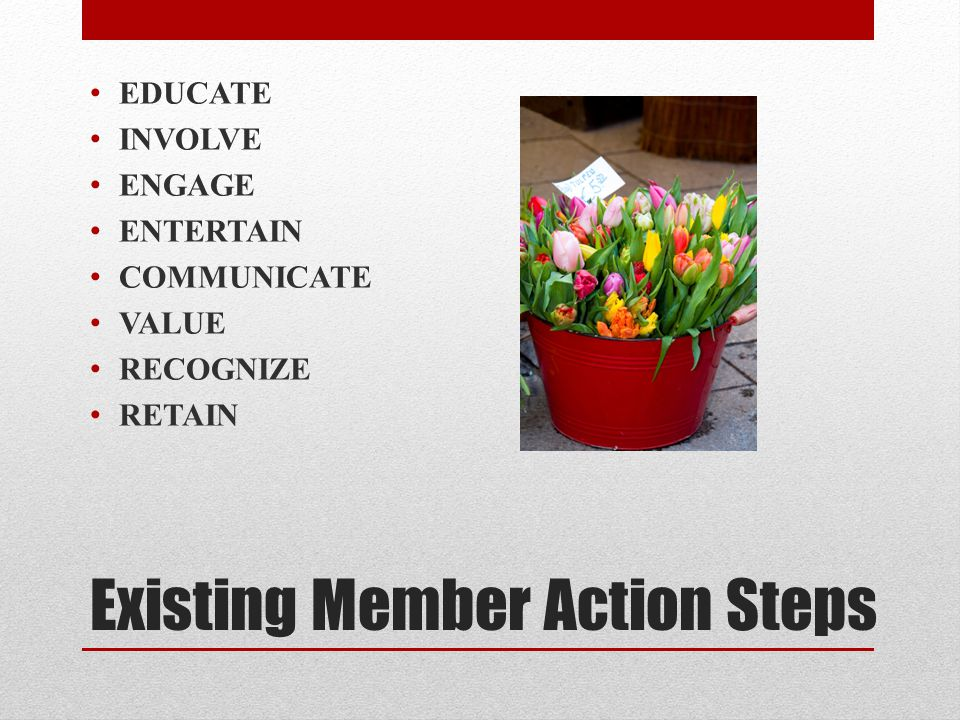 Existing Member Action Steps EDUCATE INVOLVE ENGAGE ENTERTAIN COMMUNICATE VALUE RECOGNIZE RETAIN