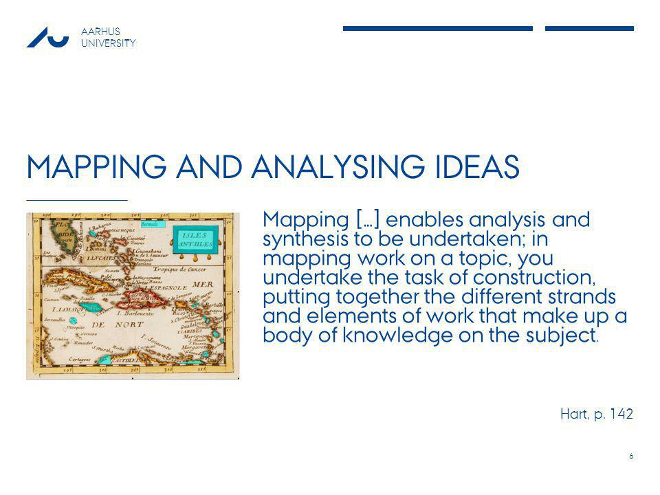 AARHUS UNIVERSITY MAPPING AND ANALYSING IDEAS 6 Mapping […] enables analysis and synthesis to be undertaken; in mapping work on a topic, you undertake the task of construction, putting together the different strands and elements of work that make up a body of knowledge on the subject.