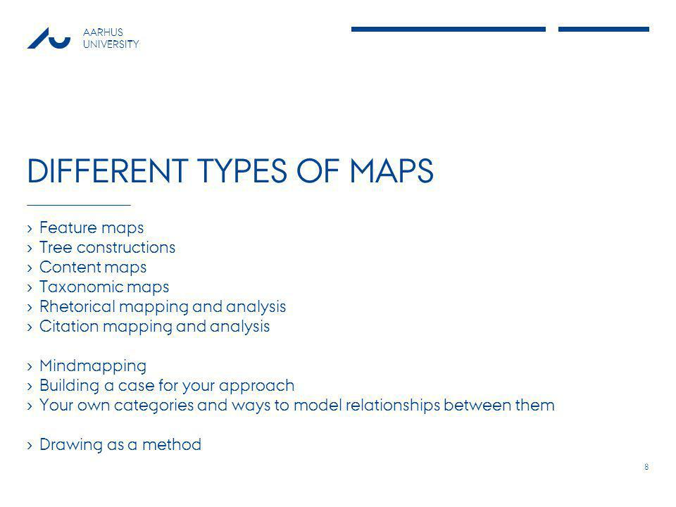 AARHUS UNIVERSITY DIFFERENT TYPES OF MAPS › Feature maps › Tree constructions › Content maps › Taxonomic maps › Rhetorical mapping and analysis › Citation mapping and analysis › Mindmapping › Building a case for your approach › Your own categories and ways to model relationships between them › Drawing as a method 8