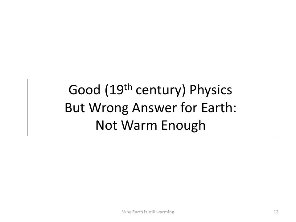 Why Earth is still warming12 Good (19 th century) Physics But Wrong Answer for Earth: Not Warm Enough