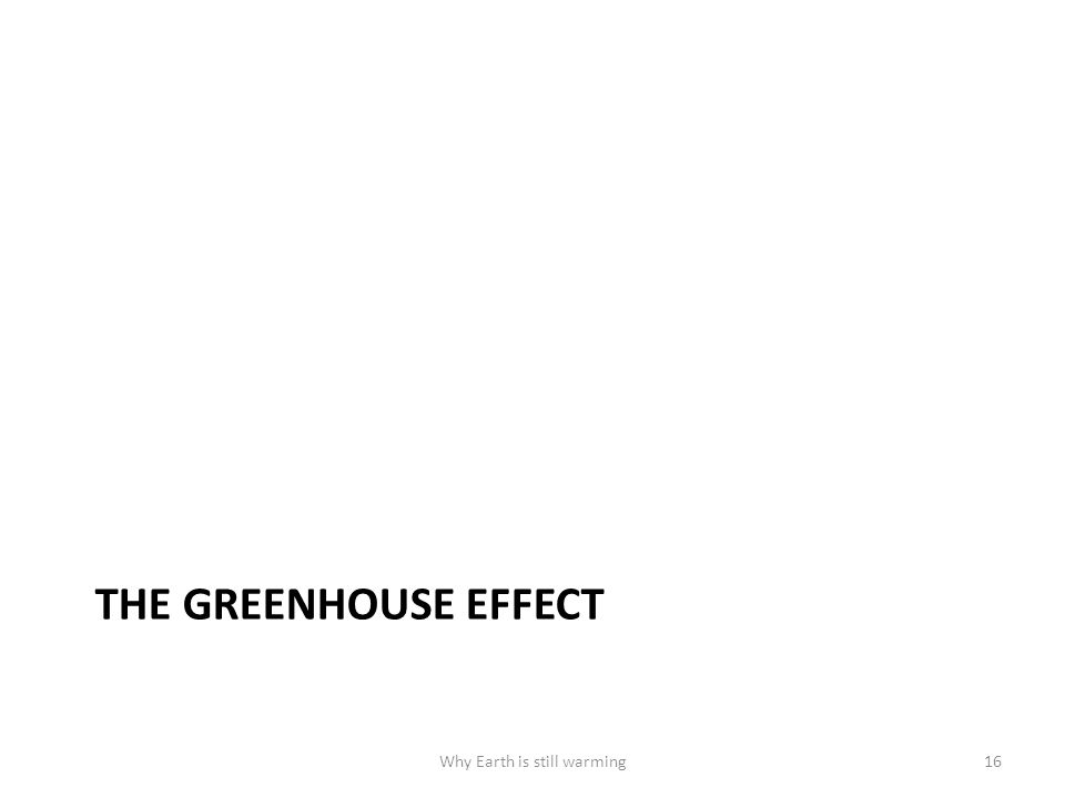 THE GREENHOUSE EFFECT Why Earth is still warming16