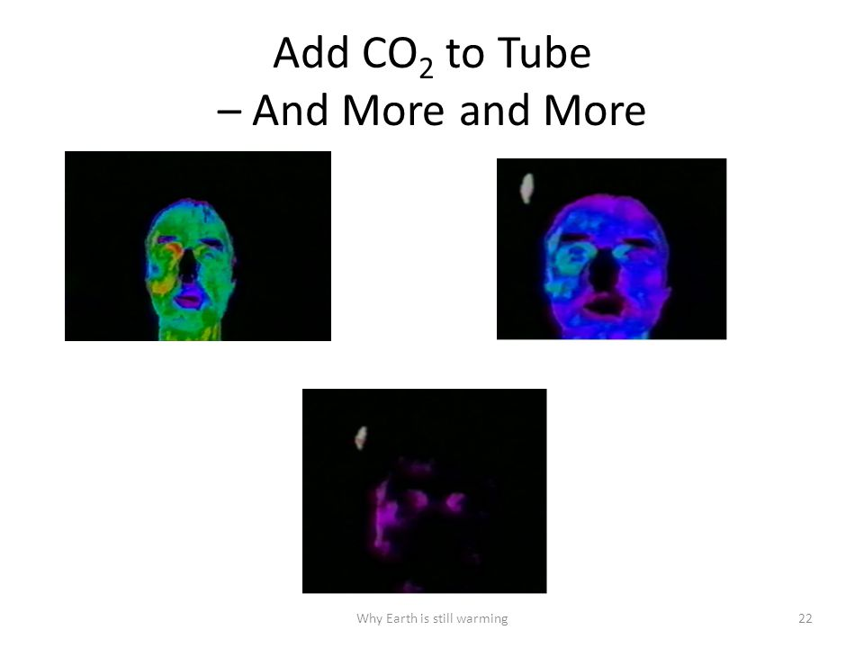 Why Earth is still warming22 Add CO 2 to Tube – And More and More
