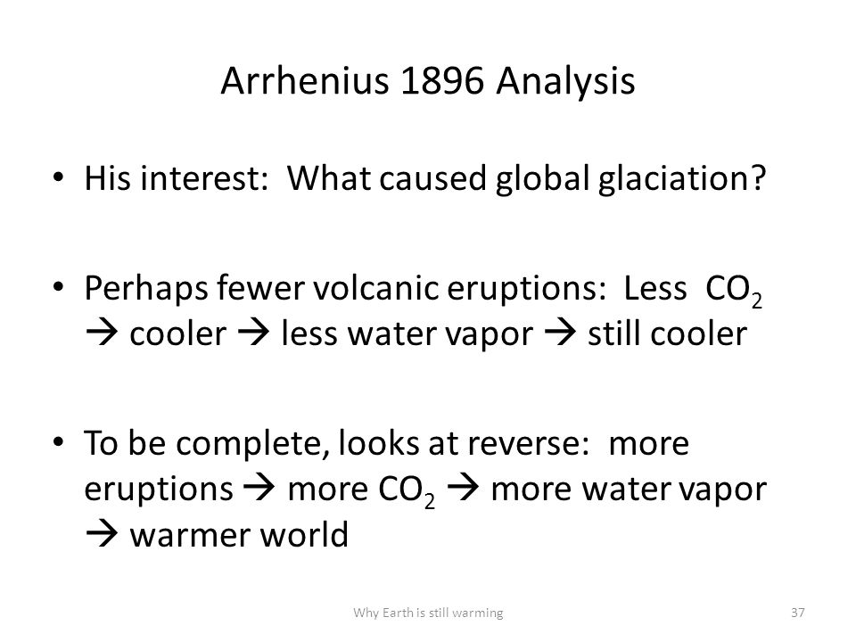 Arrhenius 1896 Analysis His interest: What caused global glaciation.