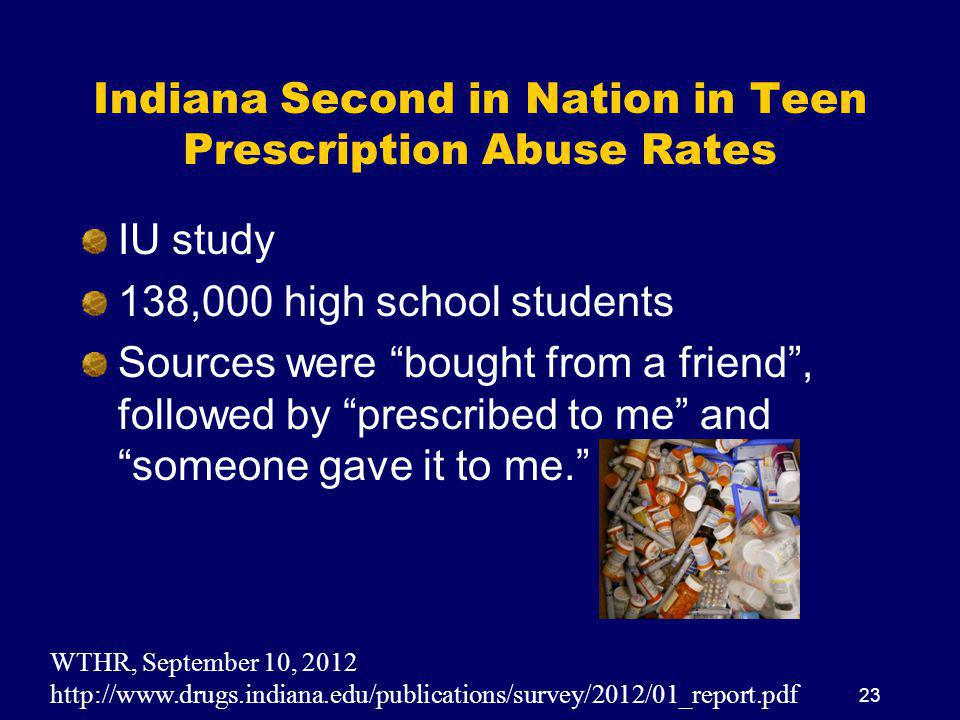 Indiana Second in Nation in Teen Prescription Abuse Rates IU study 138,000 high school students Sources were bought from a friend , followed by prescribed to me and someone gave it to me. WTHR, September 10, 2012 http://www.drugs.indiana.edu/publications/survey/2012/01_report.pdf 23
