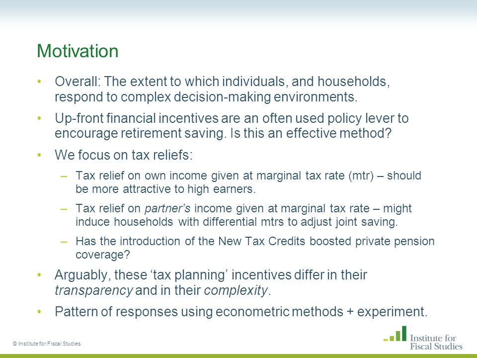 1) HRT individual analysis – 'personal pensions' © Institute for Fiscal Studies Regression analysis confirms no significant effect