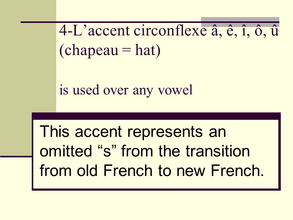 """4-L'accent circonflexe â, ê, î, ô, û (chapeau = hat) is used over any vowel This accent represents an omitted """"s"""" from the transition from old French"""