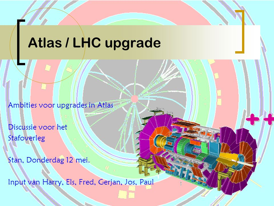 Stafoverleg 12 mei 2005 P 12 Pile-up at Super LHC  ~ 10000 particles in |  |  3.2  mostly low p T tracks N ch (|y|  0.5)