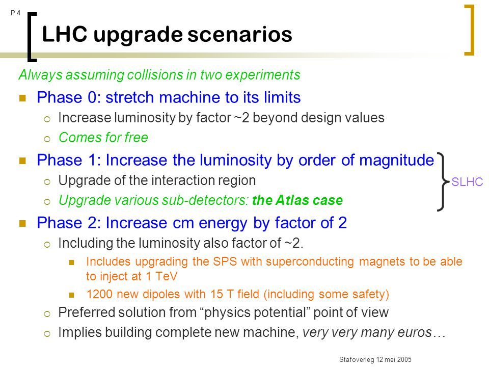 Stafoverleg 12 mei 2005 P 5 The Super-LHC: physics potential A factor 10 increase in luminosity of the LHC : what physics to be gained.
