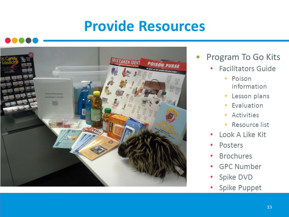Provide Resources Program To Go Kits Facilitators Guide Poison information Lesson plans Evaluation Activities Resource list Look A Like Kit Posters Br