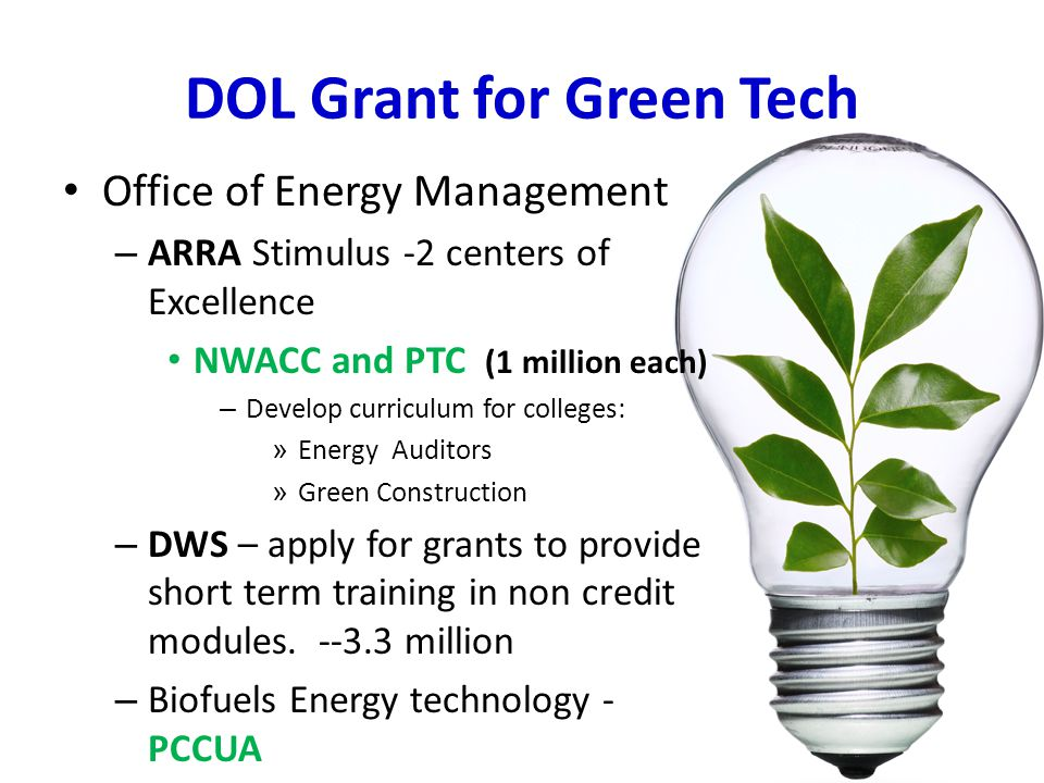 DOL Grant for Green Tech Office of Energy Management – ARRA Stimulus -2 centers of Excellence NWACC and PTC (1 million each) – Develop curriculum for colleges: » Energy Auditors » Green Construction – DWS – apply for grants to provide short term training in non credit modules.