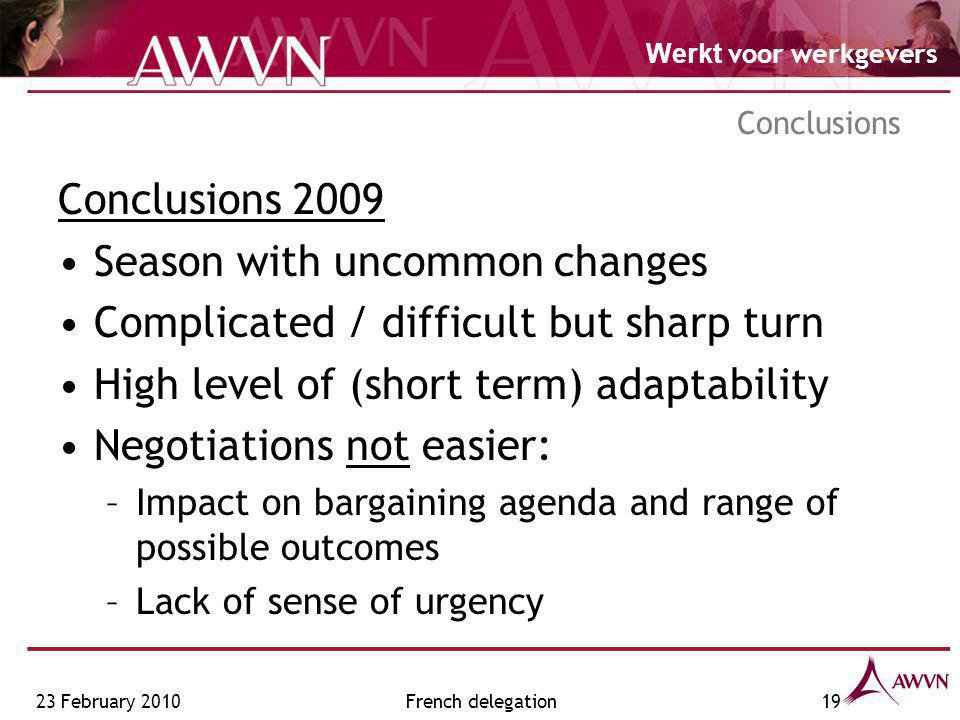 Werkt voor werkgevers 23 February 2010French delegation19 Conclusions Conclusions 2009 Season with uncommon changes Complicated / difficult but sharp turn High level of (short term) adaptability Negotiations not easier: –Impact on bargaining agenda and range of possible outcomes –Lack of sense of urgency