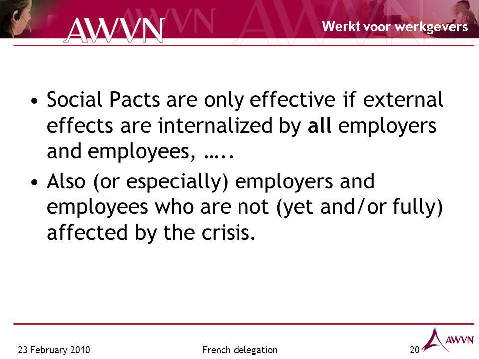 Werkt voor werkgevers 23 February 2010French delegation20 Social Pacts are only effective if external effects are internalized by all employers and employees, …..