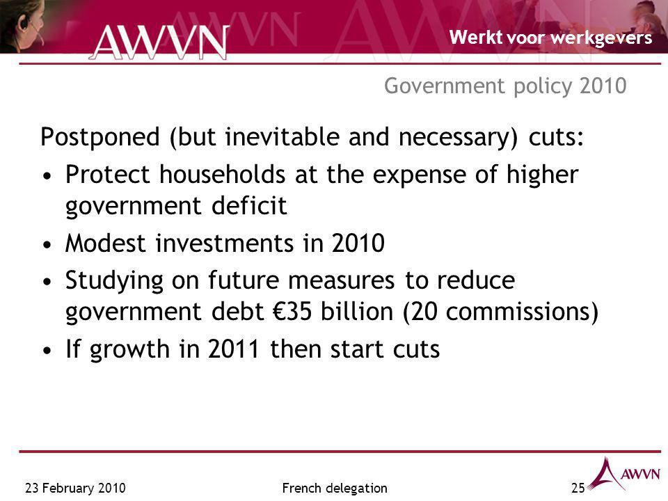 Werkt voor werkgevers French delegation25 Government policy 2010 Postponed (but inevitable and necessary) cuts: Protect households at the expense of h