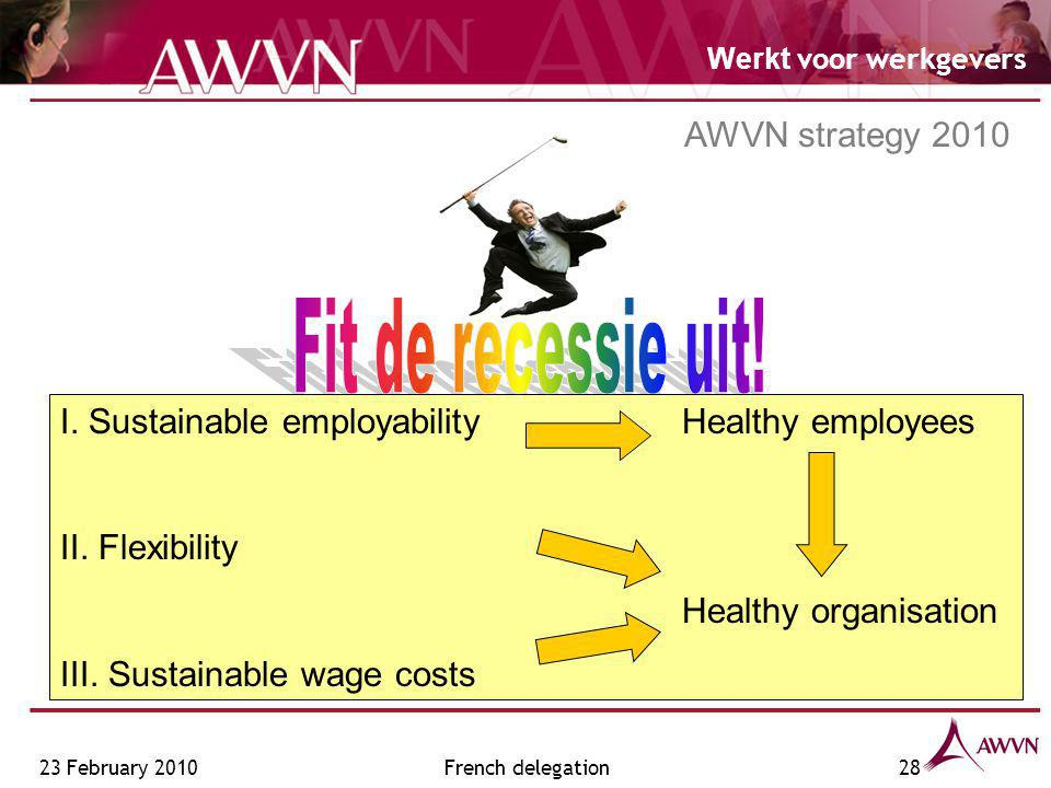Werkt voor werkgevers French delegation28 I. Sustainable employability Healthy employees II.